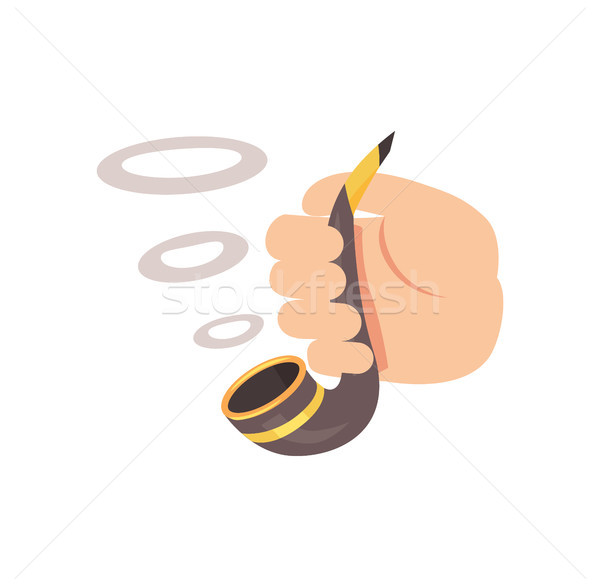Smoking Pipe in Human Hand Colorful Cartoon Poster Stock photo © robuart
