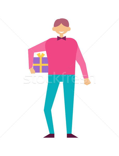 Male with Present Wrapped Gift Box in Hands Vector Stock photo © robuart