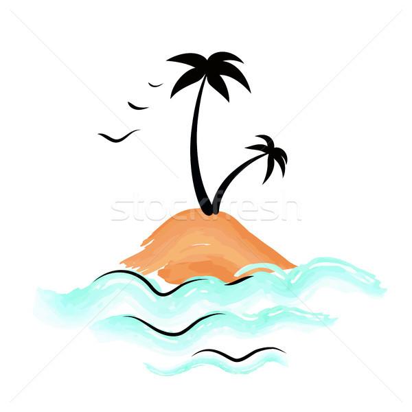 Faible île palmiers isolé blanche Photo stock © robuart
