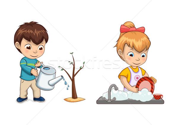 少年 ツリー 芽 少女 料理 じょうろ ストックフォト © robuart