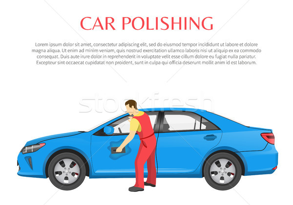 Car Polishing Poster and Text Vector Illustration Stock photo © robuart