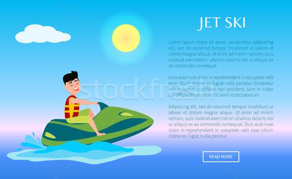 Jet Ski Web Poster Summer Sport Activity Man Ride Stock photo © robuart