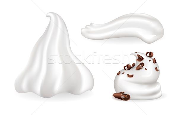 Krem şanti toplama farklı biçim süt vanilya Stok fotoğraf © robuart