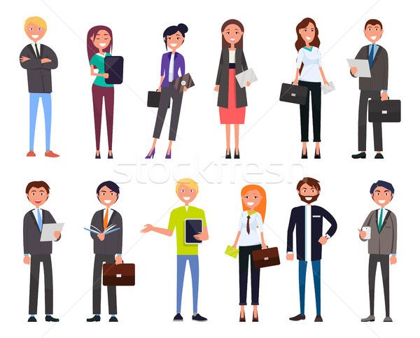 Stock photo: Set of Business People Characters Dressed Formally