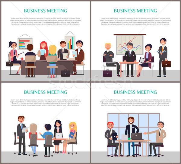 Iş toplantısı afişler ofis çalışanları ayarlamak konferans yeni Stok fotoğraf © robuart