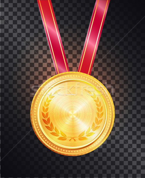 Noble Gold Round Medal on Shiny Glossy Red Ribbon Stock photo © robuart