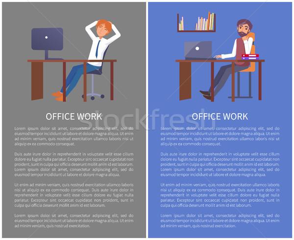 Kantoorwerk poster werkplek vector mannen Stockfoto © robuart
