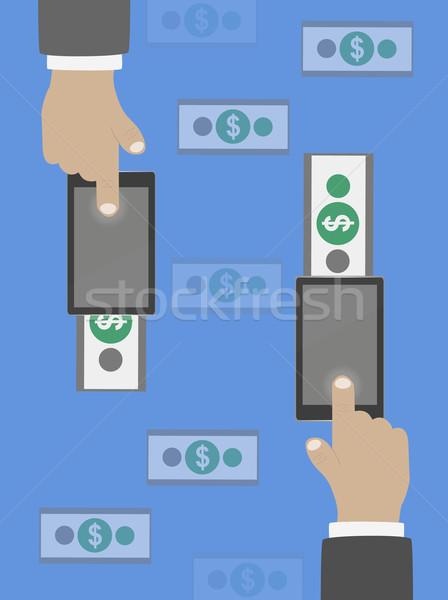 Pénzátutalás terv papír férfi háttér üzletember Stock fotó © robuart