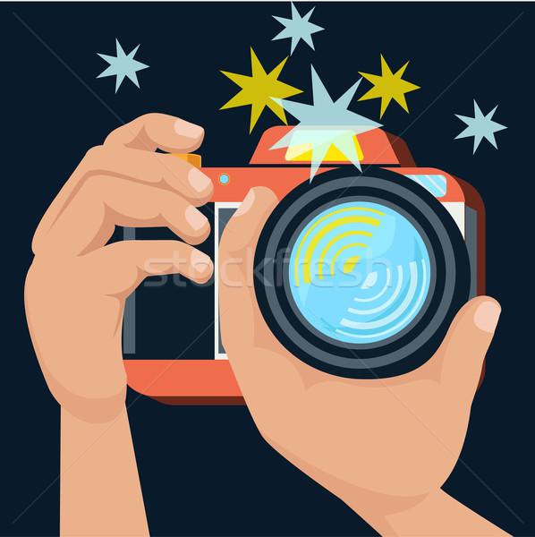 Stock photo: Hands holding camera