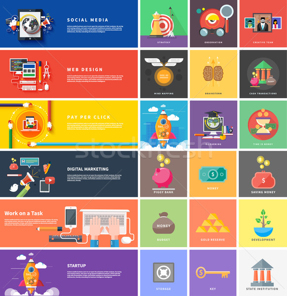 Stock photo: Icons for cash transactions, strategy, start up