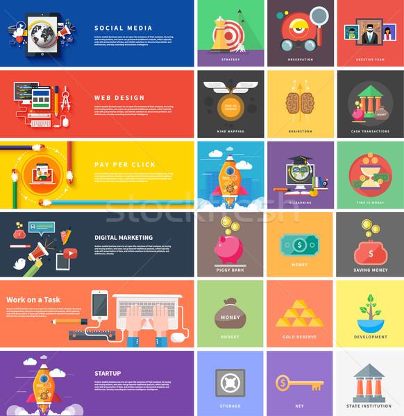 Ikonok pénz stratégia kezdet felfelé tervez Stock fotó © robuart