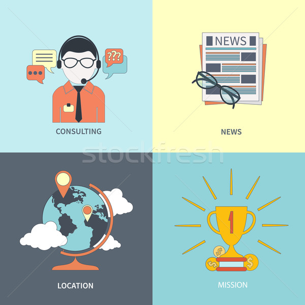 Online consulting, news, location, mission Stock photo © robuart