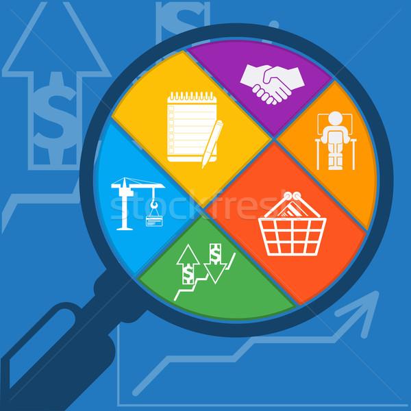Nagyító bevásárlókosár kézfogás vágólap grafikon férfi Stock fotó © robuart