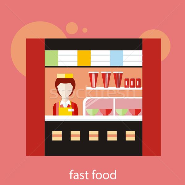 Fastfood restaurant vrouw achter counter restaurant huis Stockfoto © robuart