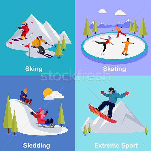 активный зима отпуск Extreme спортивных катание Сток-фото © robuart