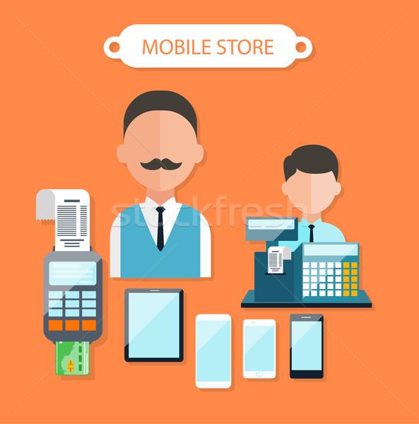 Mobile Store Concept Flat Design Stock photo © robuart