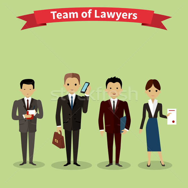 Lawyers Team People Group Flat Style Stock photo © robuart