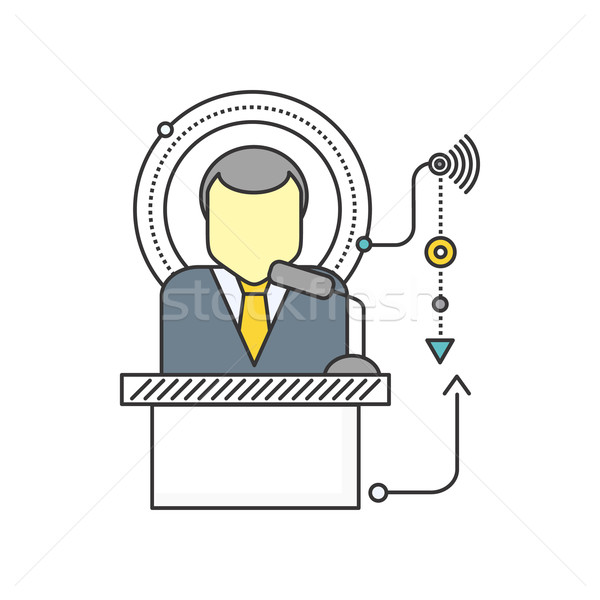 Orator Standing Behind a Podium with Microphones Stock photo © robuart