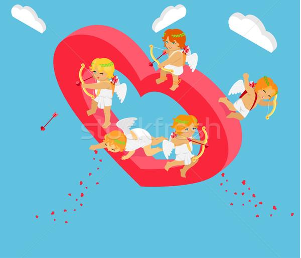 Día de san valentín 3D ángeles arco día Foto stock © robuart