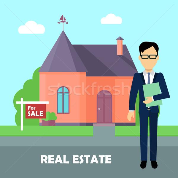 Immobilien Broker Arbeit Gebäude Verkauf Immobilienmakler Stock foto © robuart