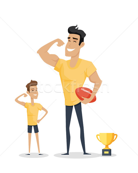 Father and Adorable Son with Basketball Soccer and Cup. Stock photo © robuart