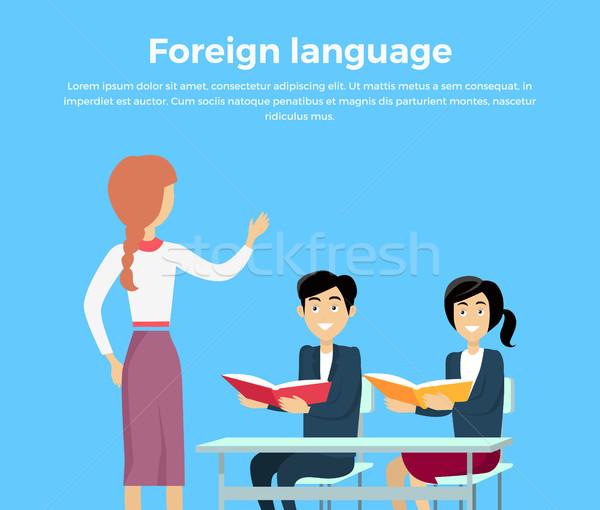 обучения иностранный язык баннер дизайна стиль Сток-фото © robuart