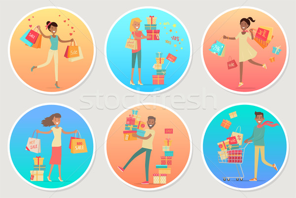 Set of Banners Sale with People. Gifting Boxes Stock photo © robuart
