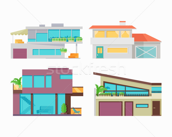 Set of Houses, Buildings and Architectures Stock photo © robuart
