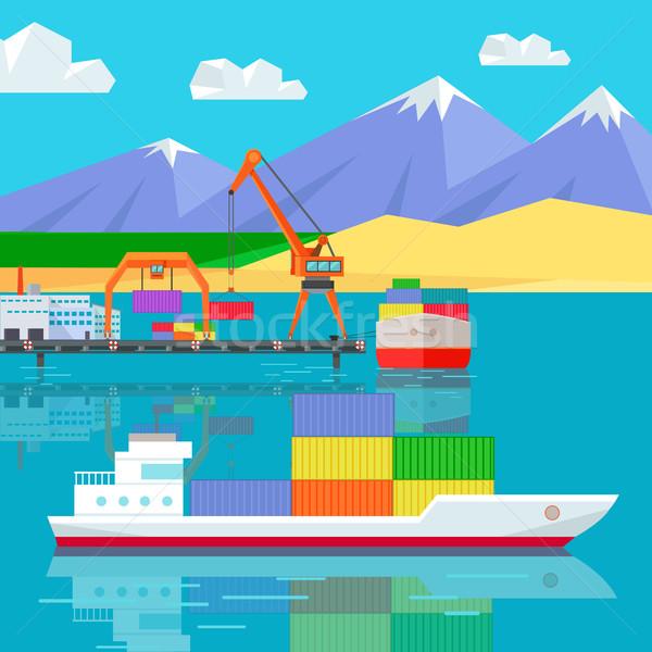 Nave in tutto il mondo magazzino logistica contenitore spedizione Foto d'archivio © robuart