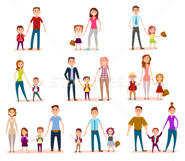 Collection of Parents with Their School Children Stock photo © robuart