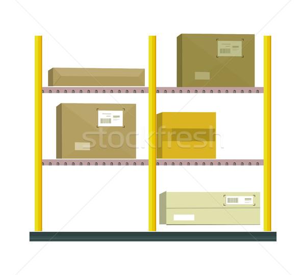 Shelf with Cartoon Box Stock photo © robuart