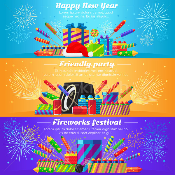 Set Fireworks. Different Kinds of Firecrackers Stock photo © robuart