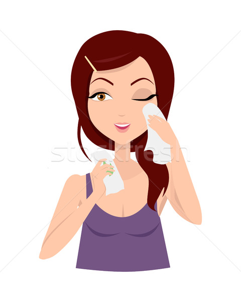 Moisturisation. Girl Applying Wet Wipes. Vector Stock photo © robuart