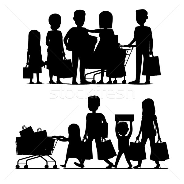 Stock photo: Family Making Purchases Silhouette Vector Set