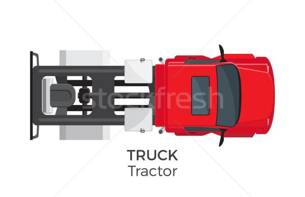 Trator caminhão topo ver o ícone do vetor ícone Foto stock © robuart