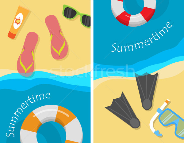 Summertime and Beach Vacation Posters Set. Stock photo © robuart