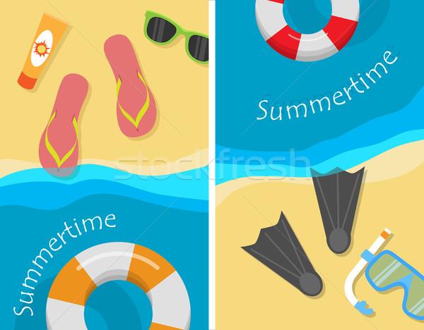 Zomertijd strand vakantie posters ingesteld snorkel Stockfoto © robuart