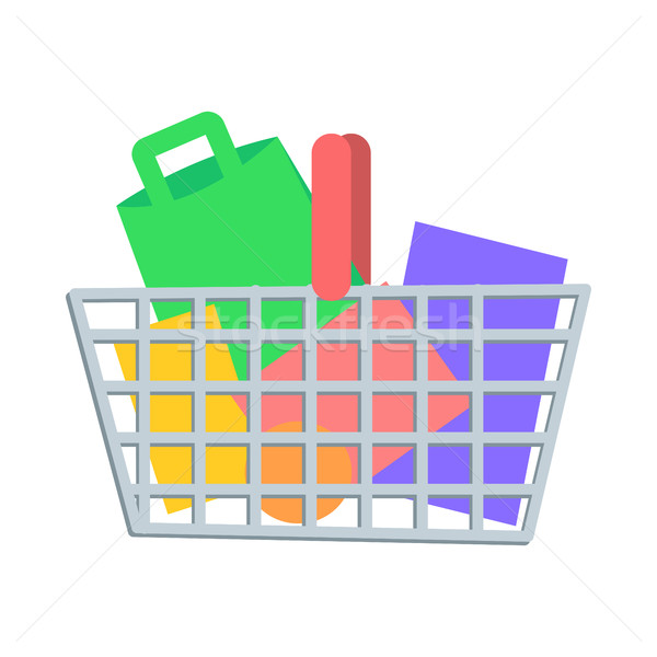 Shopping Basket with Goods Flat Vector Icon Stock photo © robuart