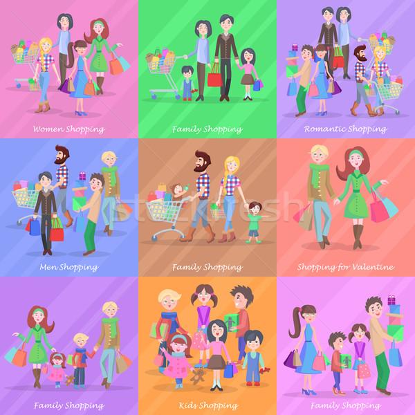 Foto stock: Conjunto · diferente · compras · lojas · romântico · famílias