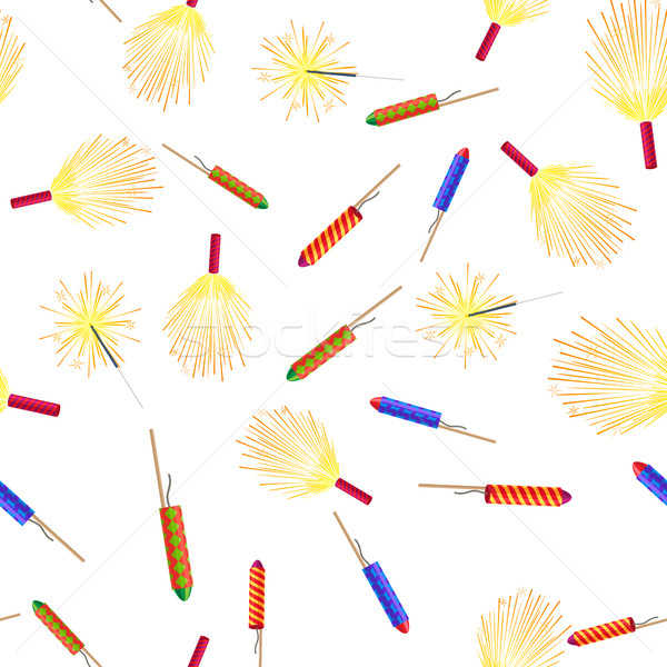 Seamless Pattern with Rockets Sparklers Fireworks Stock photo © robuart