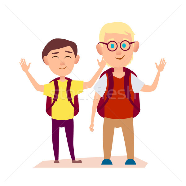 Happy Friends Waving Hands. Free Time after School Stock photo © robuart