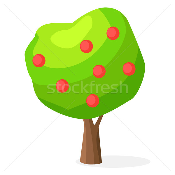 Luxuriant Green Apple-tree with Red Round Fruits Stock photo © robuart