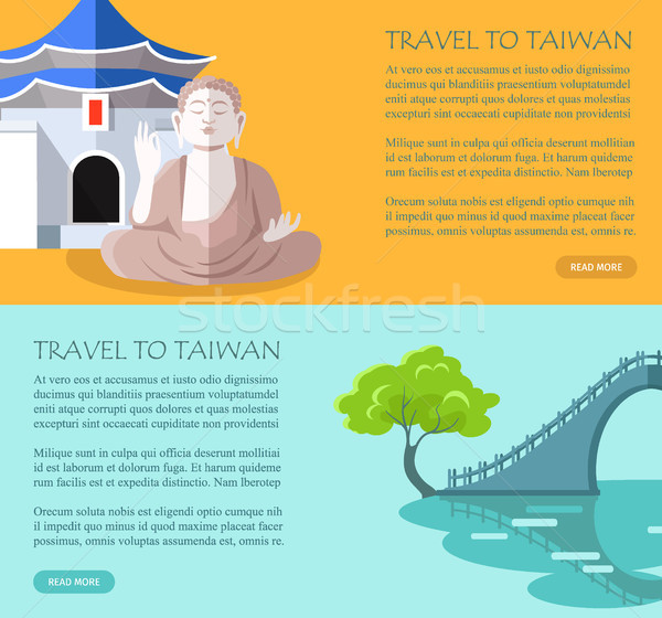 Tradycyjny zwiedzanie elementy plakat wektora kolorowy Zdjęcia stock © robuart