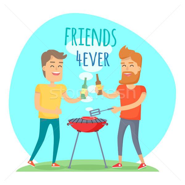 2 男 フライド 肉 バーベキュー 友達 ストックフォト © robuart
