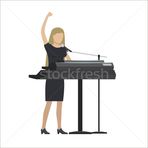 Woman Playing Synthesizer in Musical Group Vector Stock photo © robuart