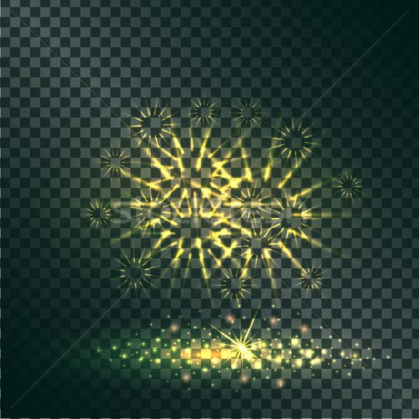 Amarillo explosión pirotécnica transparente brillo oscuro Foto stock © robuart
