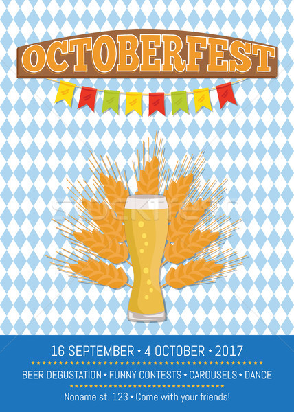 Oktoberfest patroon 16 promo poster bier Stockfoto © robuart
