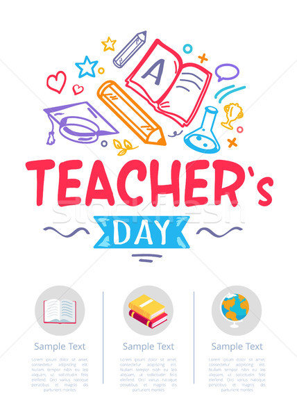Happy Teachers Day Poster with Icons of Stationery Stock photo © robuart