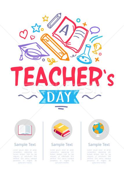 Szczęśliwy nauczycieli dzień plakat ikona materiały biurowe Zdjęcia stock © robuart