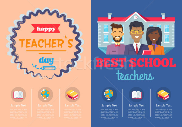 School Theme Set of Posters Vector Illustration Stock photo © robuart